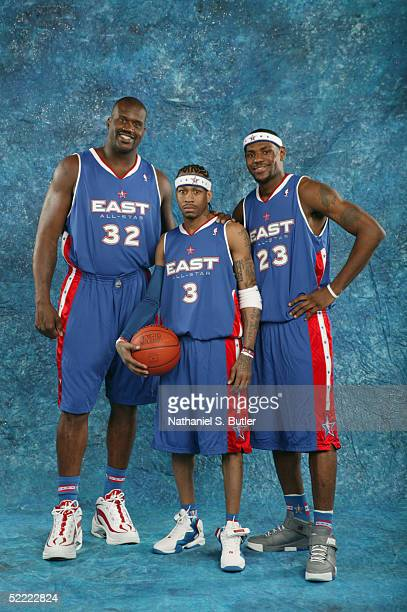 Shaquille O'Neal Allen Iverson and LeBron James of the Eastern Conference AllStars pose for a portrait prior to the 54th AllStar Game part of 2005...