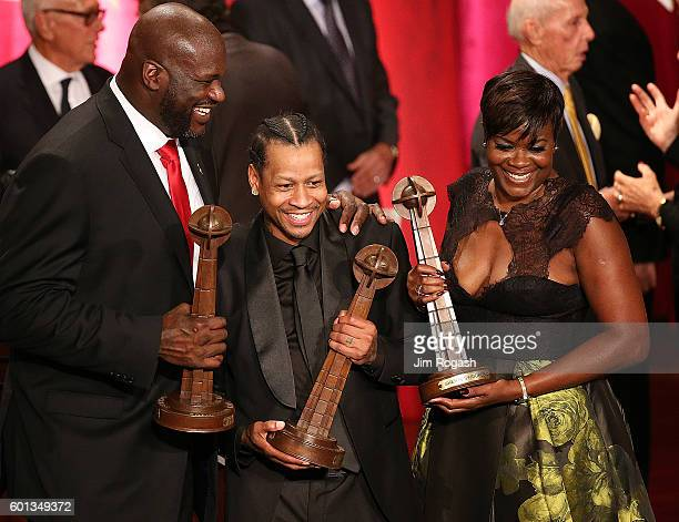 Shaquille O'Neal Allen Iverson and Sheryl Swoopes react after the 2016 Basketball Hall of Fame Enshrinement Ceremony at Symphony Hall on September 9...