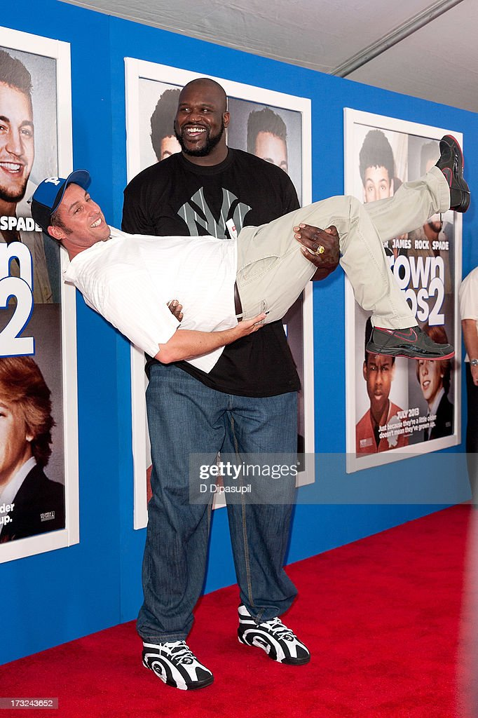 Shaquille O'Neal and Adam Sandler attend the 'Grown Ups 2' New York Premiere at AMC Lincoln Square Theater on July 10, 2013 in New York City.