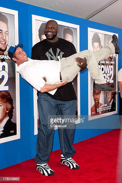 "Shaquille O'Neal and Adam Sandler attend the ""Grown Ups 2"" New York Premiere at AMC Lincoln Square Theater on July 10, 2013 in New York City."