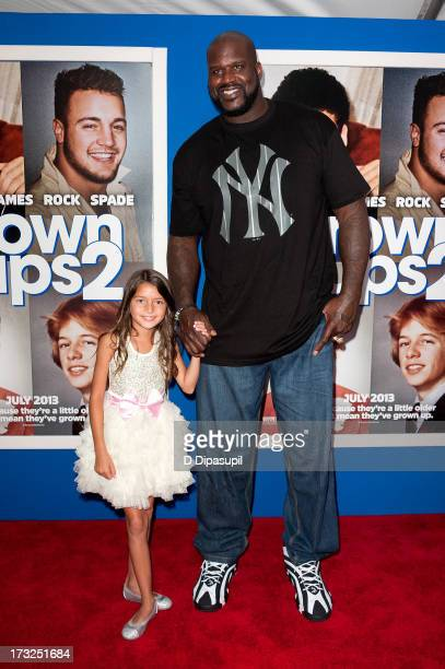 Shaquille O'Neal and Alexys Nycole Sanchez attend the 'Grown Ups 2' New York Premiere at AMC Lincoln Square Theater on July 10 2013 in New York City
