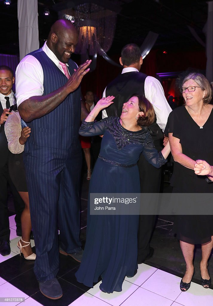 Shaquille O'Neal (L) and Barry University Vice President for Institutional Advancement and External Affairs Sara B. Herald attend Barry University's 75th Anniversary Birthday Bash at Soho Studios on October 3, 2015 in Miami, Florida.
