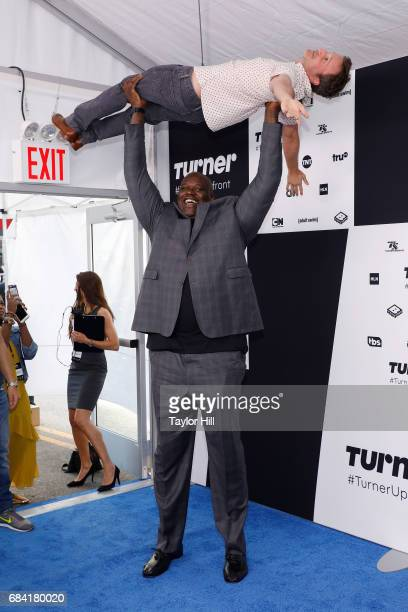 Shaquille O'Neal and Breckin Meyer attend the 2017 Turner Upfront at Madison Square Garden on May 17 2017 in New York City