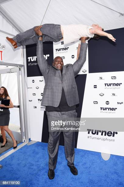 Shaquille O'Neal and Breckin Meyer attends the Turner Upfront 2017 arrivals on the red carpet at The Theater at Madison Square Garden on May 17 2017...