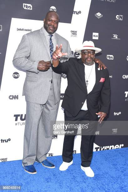 Shaquille O'Neal and Cedric the Entertainer attend the 2018 Turner Upfront at One Penn Plaza on May 16 2018 in New York City