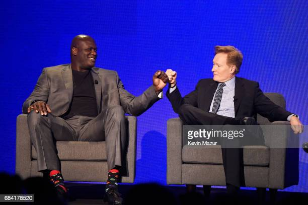 Shaquille O'Neal and Conan O'Brien speak onstage during the Turner Upfront 2017 show at The Theater at Madison Square Garden on May 17 2017 in New...