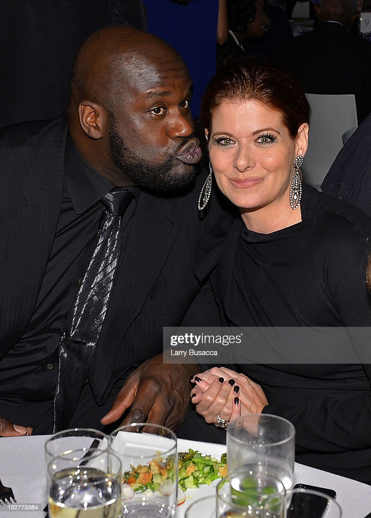 Shaquille O'Neal and Debra Messing attend the United Nations Every Woman Every Child Dinner 2012 on September 25, 2012 in New York, United States.