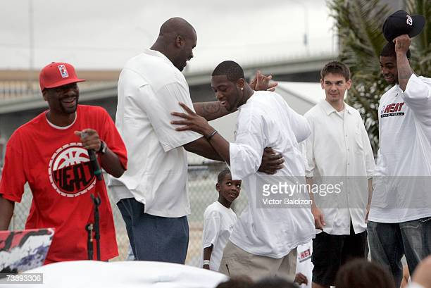 Shaquille O'Neal and Dwyane Wade of the Miami Heat attend the 2007 Family Festival on April 15 2007 at Watson Island in Miami Florida NOTE TO USER...