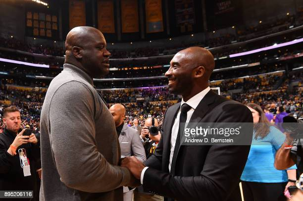 Shaquille O'Neal and Kobe Bryant greet after the jersey retirement ceremony on December 18 2017 at STAPLES Center in Los Angeles California NOTE TO...