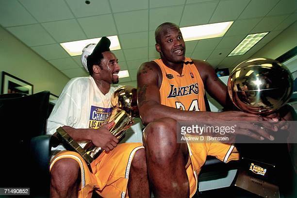 Shaquille O'Neal and Kobe Bryant of the Los Angeles Lakers celebrate winning the NBA Championship after defeating the Indiana Pacers in Game Six of...