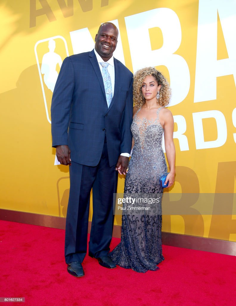 Shaquille O'Neal (L) and Laticia Rolle attend the 2017 NBA Awards at Basketball City - Pier 36 - South Street on June 26, 2017 in New York City.