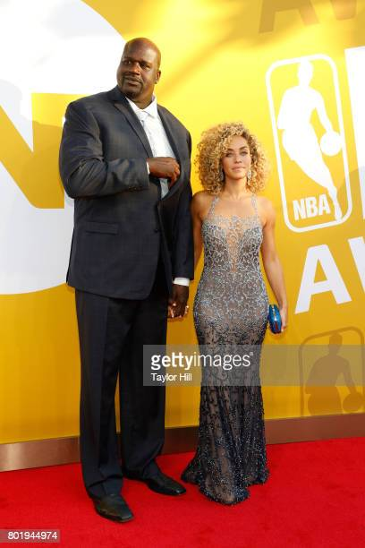 Shaquille O'Neal and Laticia Rolle attend the 2017 NBA Awards at Basketball City Pier 36 South Street on June 26 2017 in New York City