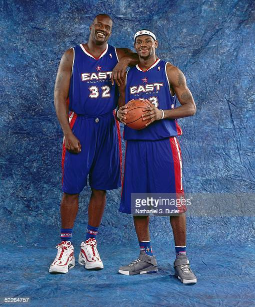 Shaquille O'Neal and LeBron James of the Eastern Conference All-Stars pose for a portrait prior to the 2005 NBA All-Star Game at The Pepsi Center on...