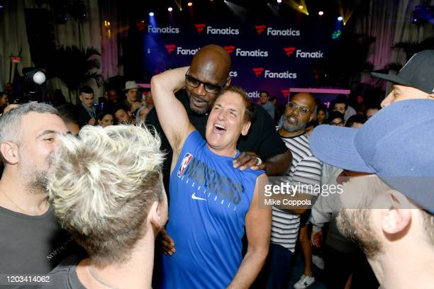 Shaquille O'Neal and Mark Cuban attend Michael Rubin's Fanatics Super Bowl Party at Loews Miami Beach Hotel on February 01 2020 in Miami Beach Florida