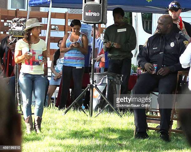 Shaquille O'Neal and Nicole Hoopz Alexander are seen on set of Grown Ups 2 on May 23 2012 in Boston Massachusetts