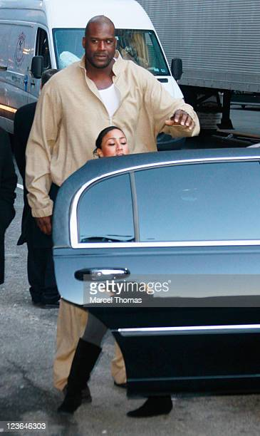 Shaquille O'Neal and Reality TV star Nicole Hoopz Alexander visit Late Show With David Letterman at the Ed Sullivan Theater on January 4 2011 in New...