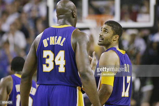 45403d9efbd Shaquille O Neal and Rick Fox of the Los Angeles Lakers talk in Game seven