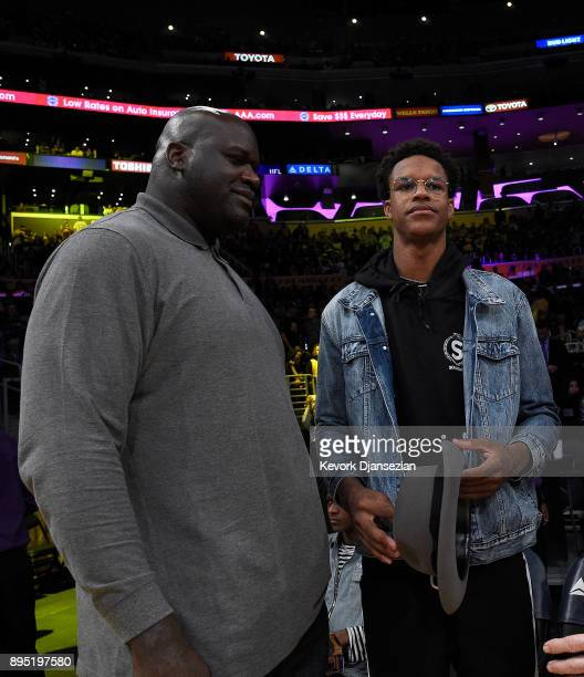 Shaquille O'Neal and son Shareef O'Neal are seen at halftime at Staples Center on December 18 2017 in Los Angeles California NOTE TO USER User...