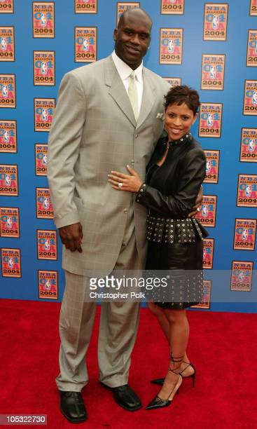 Shaquille O'Neal and wife Shaunie Nelson during NBA AllStar Game Arrivals at Staples Center in Los Angeles California United States