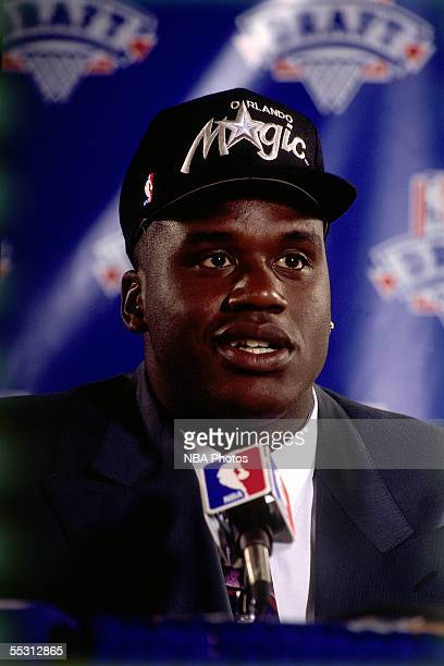 Shaquille O'Neal answers questions during a press conference after being drafted by the Orlando Magic with the first overall pick of the 1992 NBA...