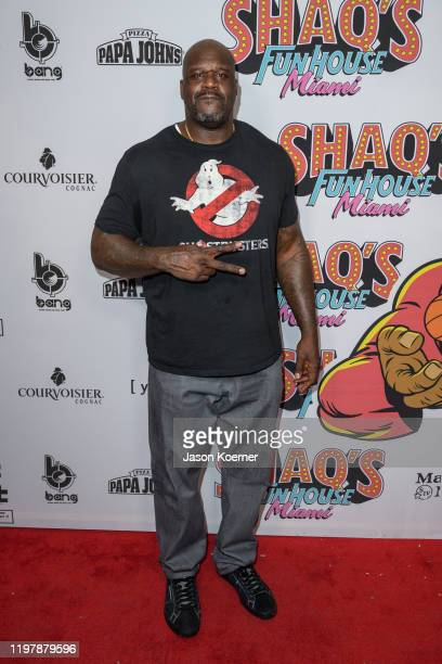 Shaquille O'neal arrives at Shaq's Fun House at Mana Wynwood Convention Center on January 31 2020 in Miami Florida