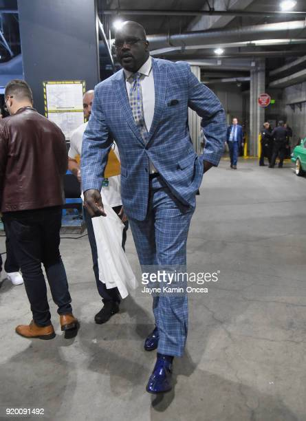 Shaquille O'Neal arrives to the NBA AllStar Game 2018 at Staples Center on February 18 2018 in Los Angeles California