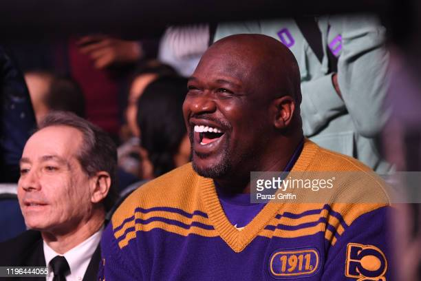 Shaquille O'Neal attends 2019 World Lightweight & World Light Heavy Weight Championships at State Farm Arena on December 28, 2019 in Atlanta, Georgia.