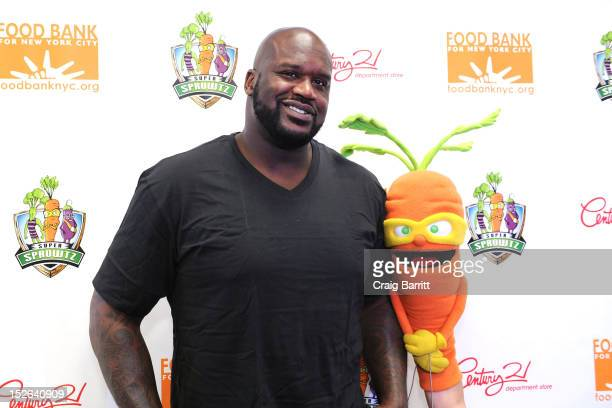 Shaquille O'Neal attends the event to kickoff Century 21 Department Store's partnership with Super Sprowtz and Food Bank for New York City To promote...