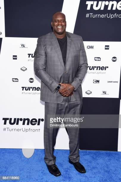 Shaquille O'Neal attends the Turner Upfront 2017 arrivals on the red carpet at The Theater at Madison Square Garden on May 17 2017 in New York City...