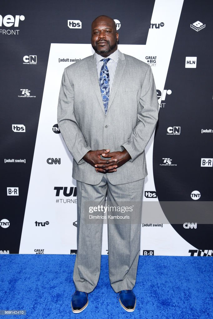 Shaquille O'Neal attends the Turner Upfront 2018 arrivals on the red carpet at The Theater at Madison Square Garden on May 16, 2018 in New York City. 376263