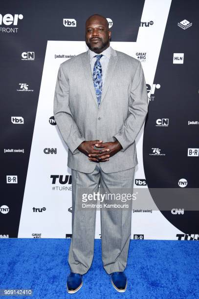 Shaquille O'Neal attends the Turner Upfront 2018 arrivals on the red carpet at The Theater at Madison Square Garden on May 16 2018 in New York City...