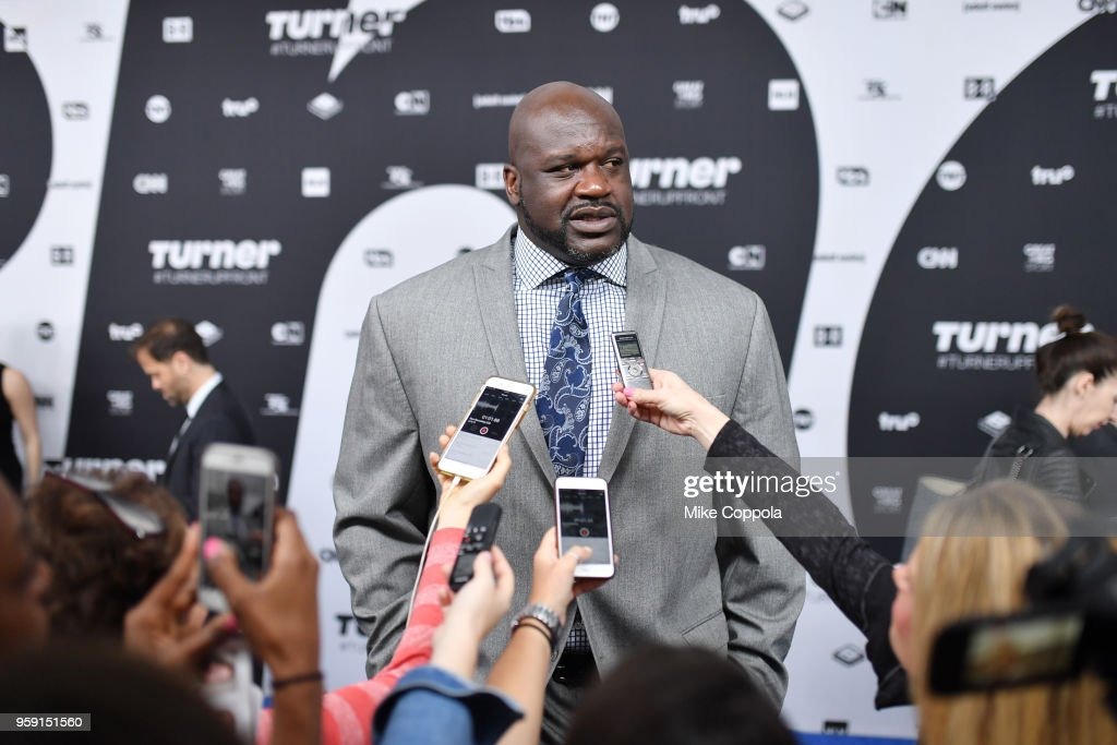Shaquille O'Neal attends the Turner Upfront 2018 arrivals on the red carpet at The Theater at Madison Square Garden on May 16, 2018 in New York City. 376296