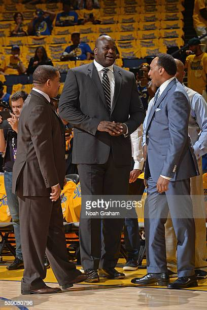 Shaquille O'Neal before the Golden State Warriors face the Cleveland Cavaliers for Game Two of the 2016 NBA Finals on June 5 2016 at ORACLE Arena in...
