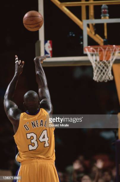 Shaquille O'Neal, Center for the Los Angeles Lakers shoots a free throw during the NBA Pre Regular Season basketball game against the Golden State...