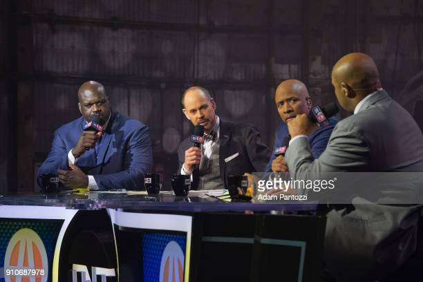 Shaquille O'Neal Charles Barkley Ernie Johnson and Kenny Smith speak during the 2018 Brand Jordan NBA AllStar Uniforms AllStar Rosters Unveiling show...