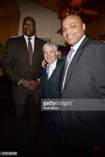 Shaquille O'Neal David Levy President TBS Inc and Charles Barkley attend the Turner Upfront 2015 at Madison Square Garden on May 13 2015 in New York...
