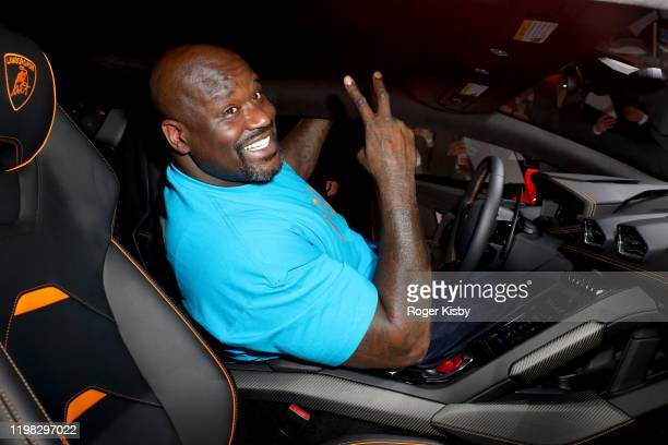 Shaquille O'Neal demos Amazon Alexa in the Lamborghini Huracan Evo during the Amazon After Hours during CES 2020 at The Venetian Las Vegas on January...