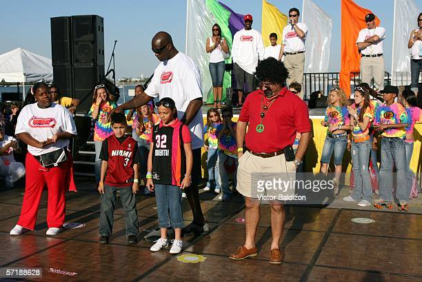 Shaquille O'Neal directs a dance contest during the Miami Heat Family Festival on March 26 2006 at the American Airlines Arena in Miami Florida NOTE...