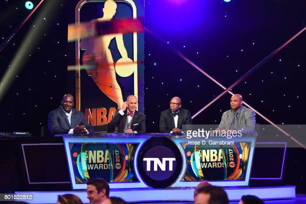 Shaquille O'Neal Ernie Johnson Kenny Smith and Charles Barkley during the 2017 NBA Awards Show on June 26 2017 at Basketball City in New York City...