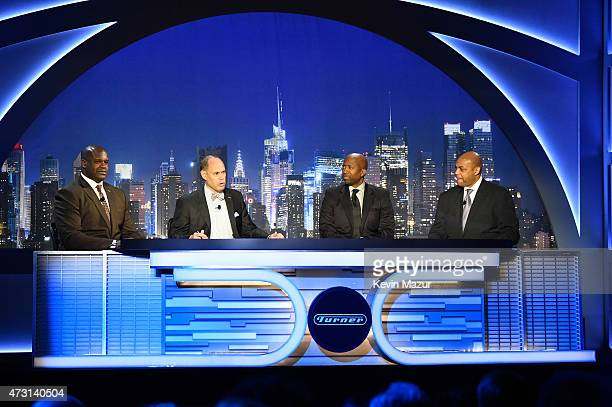 Shaquille O'Neal Ernie Johnson Kenny Smith and Charles Barkley speak onstage during the Turner Upfront 2015 at Madison Square Garden on May 13 2015...