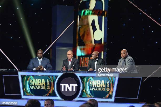 Shaquille O'Neal Ernie Johnson Kenny Smith and Charles Barkley speak onstage during the 2017 NBA Awards Live on TNT on June 26 2017 in New York New...