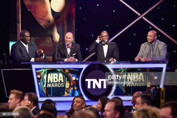 Shaquille O'Neal Ernie Johnson Kenny Smith and Charles Barkley speak on stage during the 2017 NBA Awards Live On TNT on June 26 2017 in New York City...