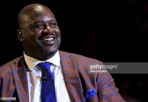Shaquille O'Neal has his number retired during a game between the Miami Heat and the Los Angeles Lakers at American Airlines Arena on December 22...
