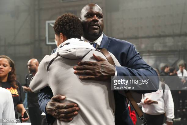 Shaquille O'Neal hugs his son Shareef O'Neal at the Jordan Brand Future of Flight Showcase on January 25 2018 in Studio City California