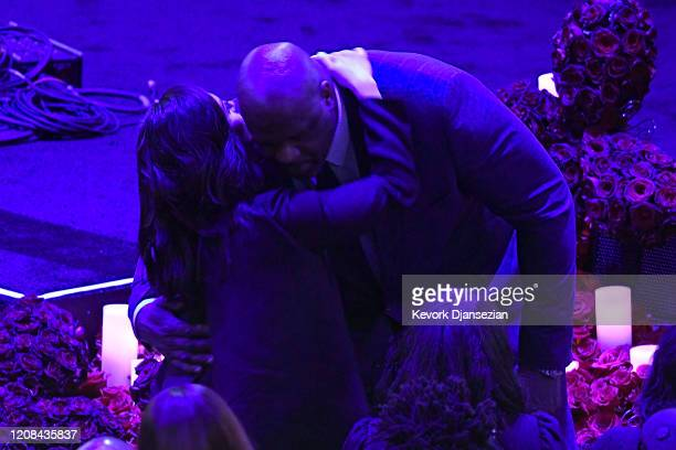 Shaquille O'Neal hugs Vanessa Bryant during The Celebration of Life for Kobe Gianna Bryant at Staples Center on February 24 2020 in Los Angeles...