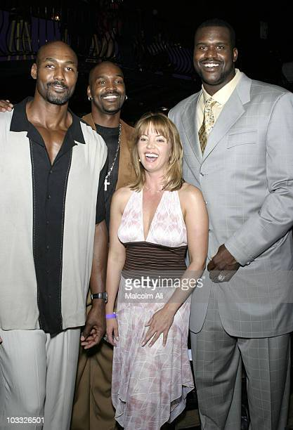 Shaquille O'Neal Jeannie Buss Brian Russell and Karl Malone