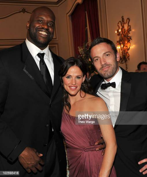 Shaquille O'Neal Jennifer Garner and Ben Affleck attend The Greenbrier for the gala opening of the Casino Club on July 2 2010 in White Sulphur...