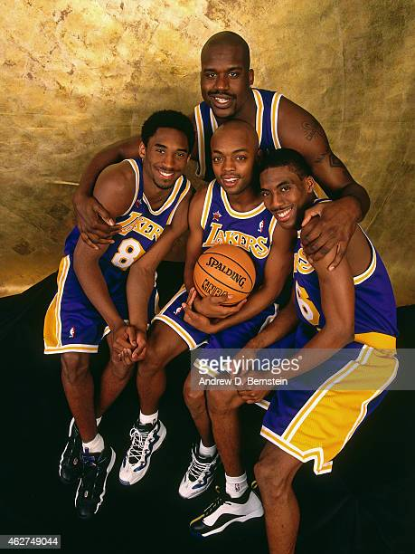 Shaquille O'Neal Kobe Bryant Nick Van Exel and Kobe Bryant of the Los Angeles Lakers poses for a portrait during NBA AllStar Weekend on February 6...