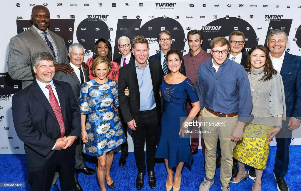 Shaquille O'Neal, Lenny Daniels, David Levy, President, Turner, Amy Sedaris, Tiffany Haddish, Anderson Cooper, John Martin, Chairman and CEO, Turner, Chris Linn, Donna Speciale, Chris Pine, Joe Pera, Kevin Reilly, Christina Miller, and Gerhard Zeiler attend the Turner Upfront 2018 arrivals on the red carpet at The Theater at Madison Square Garden on May 16, 2018 in New York City. 376296