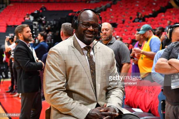 Shaquille O'Neal looks on during Game Four of the Eastern Conference Finals of the 2019 NBA Playoffs between the Milwaukee Bucks and Toronto Raptors...
